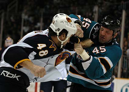 NHL hockey fight photo Jody Shelley vs Boris Valabik