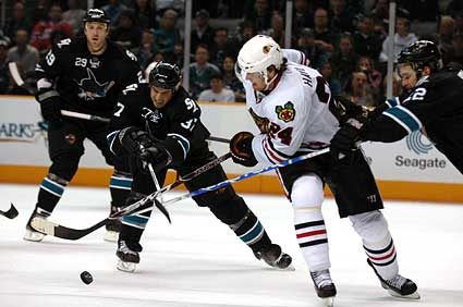 San Jose Sharks vs Chicago Blackhawks hockey photo Brad Lukowich Martin Havlat