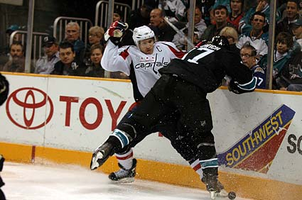 San Jose Sharks defenseman Brad Lukowich Washington Capitals captain center Chris Clark photo