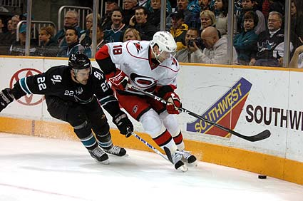 San Jose Sharks Dan Boyle Carolina Hurricanes Ryan Bayda photo