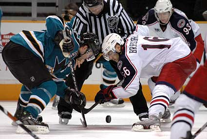 Patrick Marleau Derick Brassard NHL faceoff photo