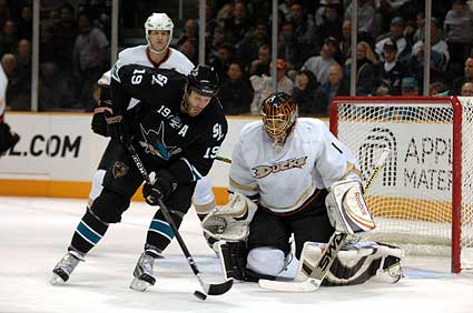 San Jose Sharks center Joe Thornton vs Anaheim Ducks goaltender Jonas Hiller photo