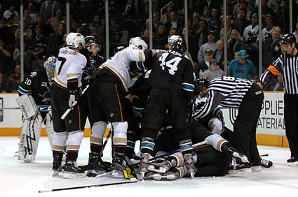 San Jose Sharks vs Anaheim Ducks hockey photo
