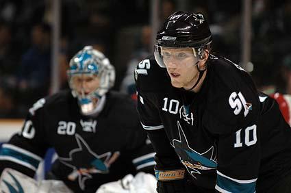 San Jose Sharks goaltender Evgeni Nabokov defenseman Christian Ehrhoff