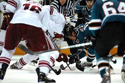 San Jose Sharks Jeremey Roenick faceoff photo