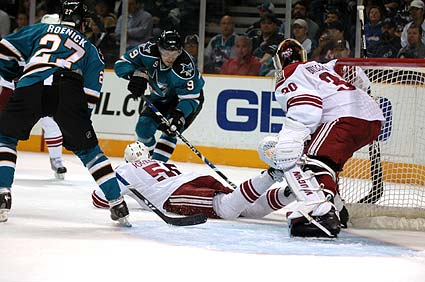 San Jose Sharks left wing Milan Michalek Phoenix Coyotes goaltender Ilya Bryzgalov photos