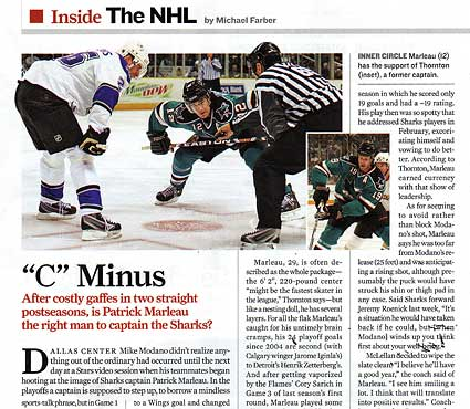 Sports Illustrated Michael Farber Patrick Marleau