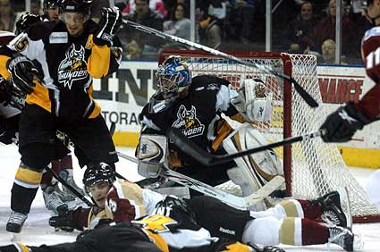 Bakersfield Condors Stockton thunder goaltender crease photo
