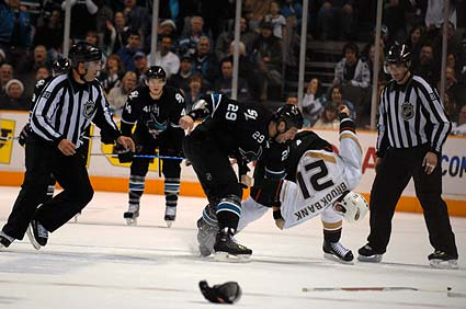 San Jose Sharks vs Anaheim Ducks NHL hockey fight Ryane Clowe Sheldon Brookbank