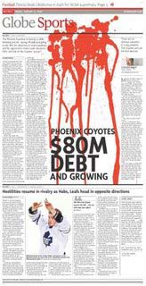 Globe and Mail Phoenix Coyotes debt bankruptcy