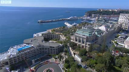 BBC Forumla 1 Monaco Grand Prix hairpin coastline view