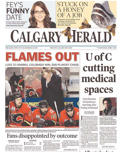 Calgary Herald San Jose Sharks elminate Calgary Flames from NHL Playoffs
