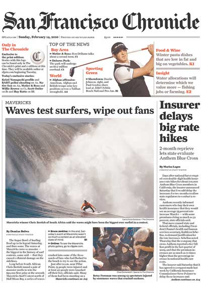 San Francisco Chronicle 2010 Mavericks Big Wave surfing contest front page coverage
