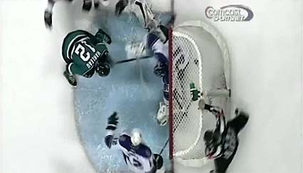 Referee Steve Kozari waives off Patrick Marleau's game winning goal in the 3rd period against Los Angeles