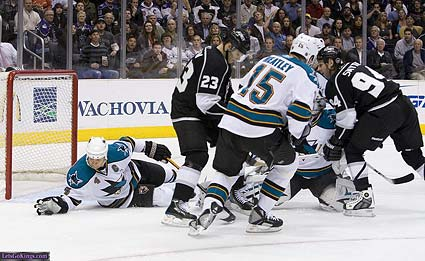 San Jose Sharks defenseman Rob Blake makes a glove save vs Los Angeles Kings Michael Zampelli LetsgoKings.com