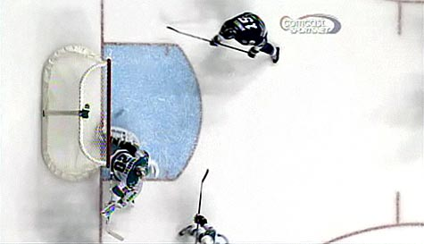 Evgeni Nabokov side to side save against Nashville second period NHL San Jose Sharks