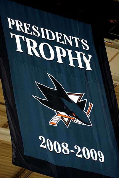 San Jose Sharks unveil Presidents Trophy Western Conference Champion Pacific Division banners during 2009-10 home opener