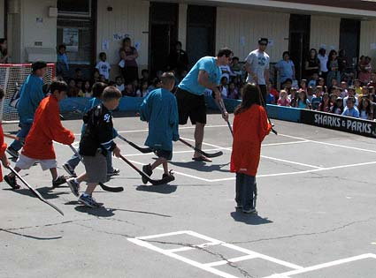 Brad Lukowich San Jose Sharks street hockey at Holly Oak elementary school