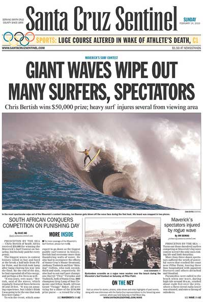Santa Cruz Sentinel 2010 Mavericks Big Wave surfing contest front page coverage