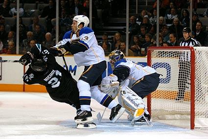 San Jose Sharks St Louis Blues NHL hockey Scott Nichol Mike Weaver