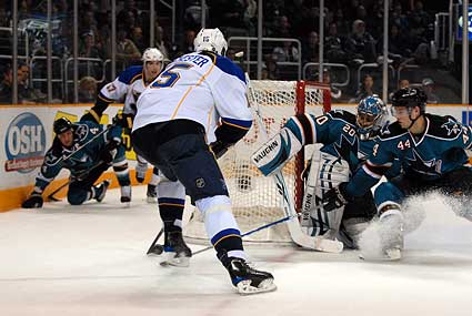 St Louis Blues left wing Brad Winchester NHL shot