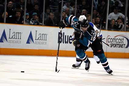 San Jose Sharks right wing Dany Heatley blocked shot breakaway OT game winning goal