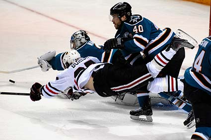 Western Conferenc Finals San Jose Sharks Chicago Blackhawks Adam Burish Evgeni Nabokov
