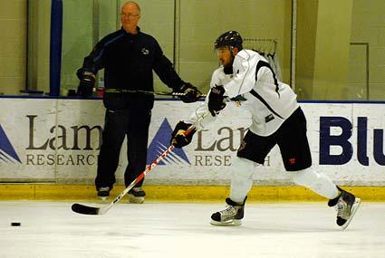 San Jose Sharks Western Conference Finals practice Wayne Thomas and Devin Setoguchi