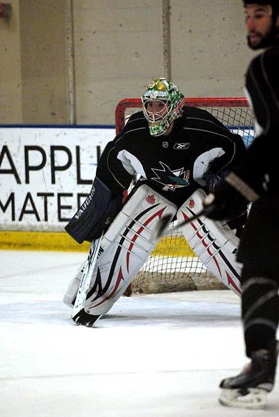 San Jose Sharks Western Conference Finals practice Swedish goaltender Henrik Karlsson