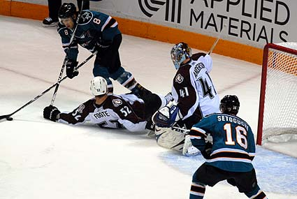 Stanley Cup Playoffs San Jose Sharks vs Colorado Avalanche Joe Pavelski Devin Setoguchi scoring chance