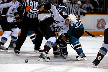 San Jose Sharks Colorado Avalanche playoff regular season faceoff percentage