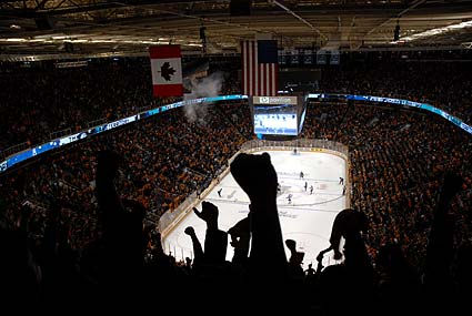 Stanley Cup Playoffs San Jose Sharks fans HP Pavilion celebrate goal