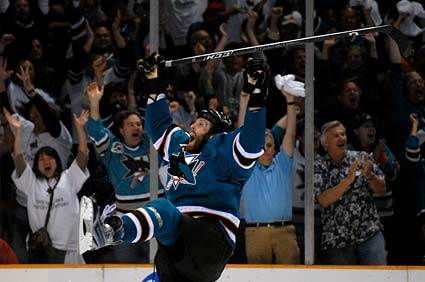 San Jose Sharks center Joe Thornton celebrates advancing to the Western Conference Finals