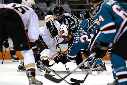 San Jose Sharks vs Anaheim Ducks NHL hockey