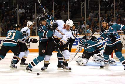 Douglas Murray hat trick San Jose Sharks Anaheim Ducks preseason goal hammer