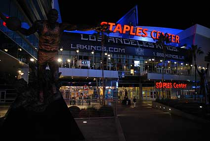 Magic Johnson Lakers statue outside Staples Center in Los Angeles