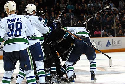 San Jose Sharks Vancouver Canucks hockey fight rugby scrum PIMs