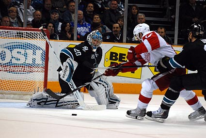 San Jose Sharks Evgeni Nabokov goaltender Detroit Red Wings Patrick Eaves