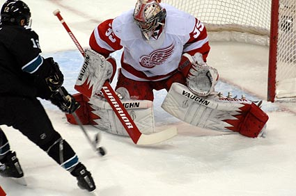 San Jose Sharks NHL goal scoring leader Patrick Marleau shot Jimmy Howard Detroit Red Wings
