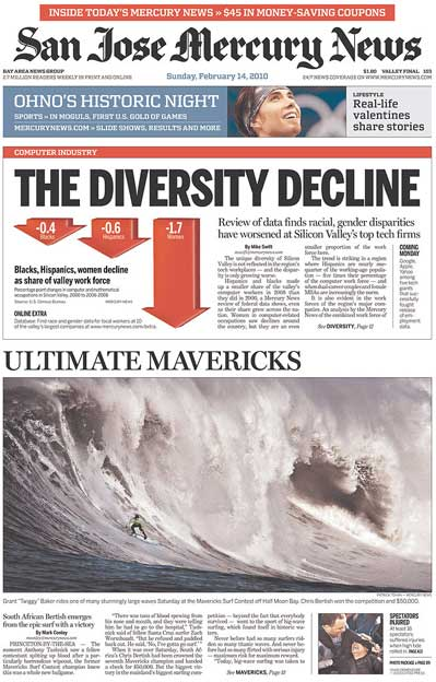 San Jose Mercury News 2010 Mavericks Big Wave surfing contest front page coverage