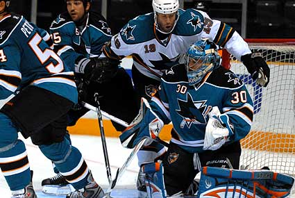 San Jose Sharks 2009 Teal and White game Joe Thornton Alex Stalock