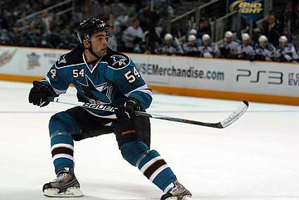 San Jose Sharks 2009 Teal and White game Nick Petrecki goal