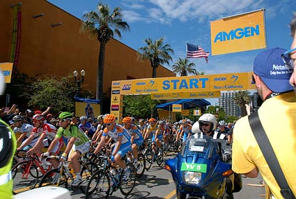 Start of the 2010 Tour of California cycling race in downtown San Jose