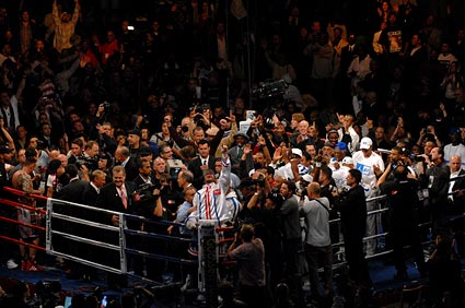 World Boxing Classic Super Six Tournament Andre Ward defeats Mikkel Kessler for WBA Super Middleweight title packed ring