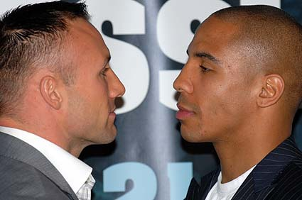 World Boxing Classic Super Six Tournament press conference Mikkel Kessler Andre Ward stare down photo