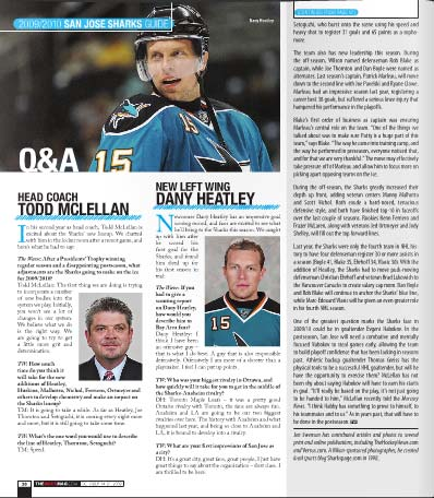The Wave Magazine October San Jose Sharks issue left wing Dany Heatley head coach Todd McLellan Q and A question answer