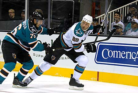 San Jose Sharks 2011-12 Teal and White game Ryane Clowe Michael Sgarbossa