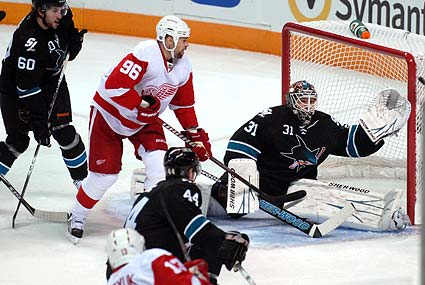 San Jose Sharks goaltender Antti Niemi Detroit Red Wings Pavel Datsyuk shot on goal