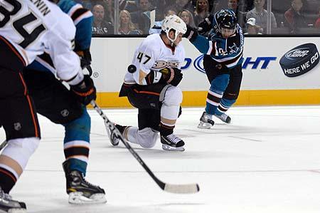 San Jose Sharks preseason right wing Andrew Murray shot