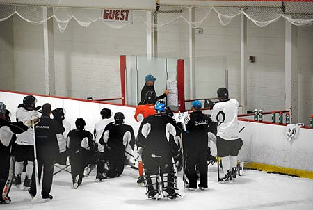 Worcester Sharks head coach Roy Sommer giving instructions at the start of AHL training camp